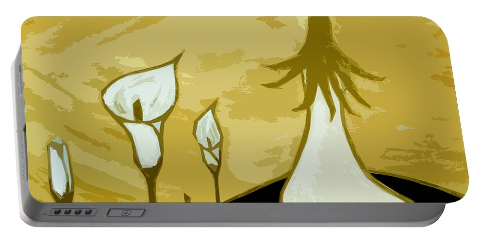 Lady Portable Battery Charger featuring the painting Lilies Of The Field 3 by Angelina Vick