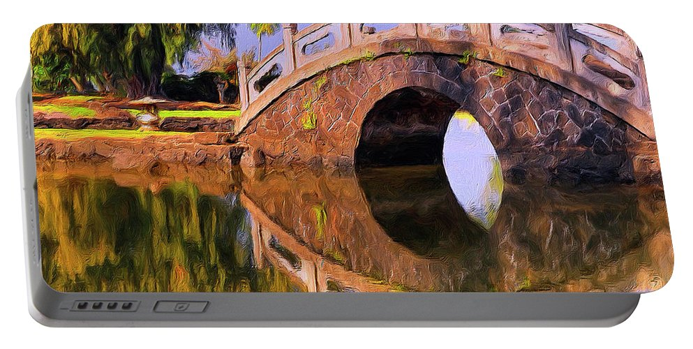 Hawaii Portable Battery Charger featuring the painting Liliuokalani Gardens by Dominic Piperata