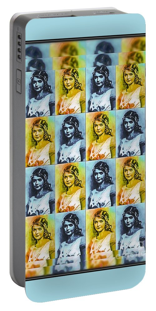 Pop Art Portable Battery Charger featuring the mixed media Lillian Gish Actress - Pop Art by Ian Gledhill