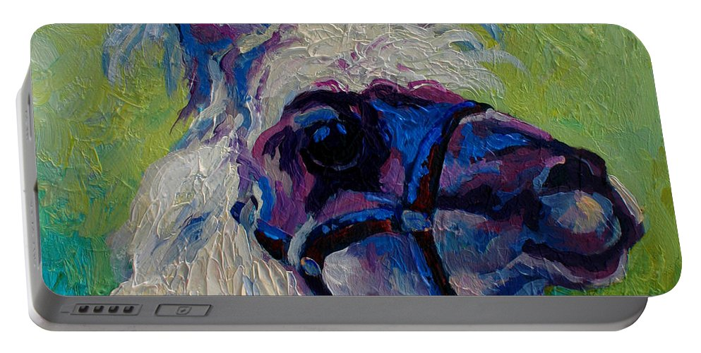 Llama Portable Battery Charger featuring the painting Lilloet - Llama by Marion Rose