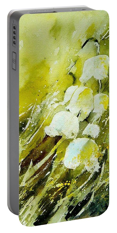 Flowers Portable Battery Charger featuring the painting Lilly Of The Valley by Pol Ledent