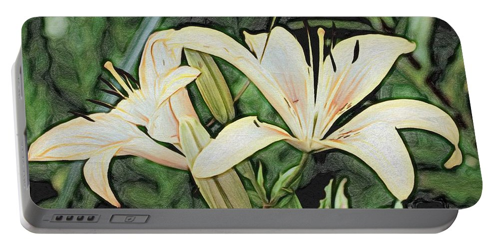 Lily Portable Battery Charger featuring the painting Lily - Id 16217-152054-3169 by S Lurk
