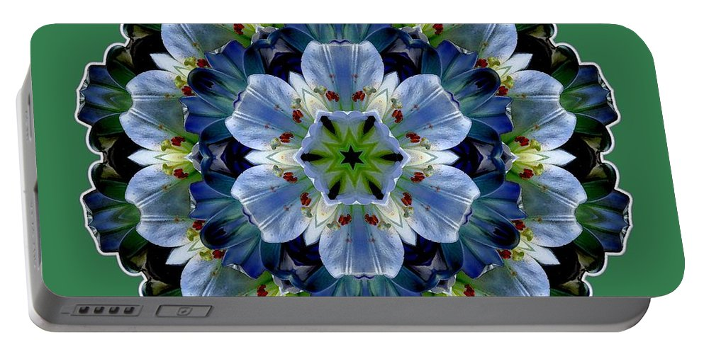 Easter Lilies Portable Battery Charger featuring the digital art Lily Medallion by Lynde Young