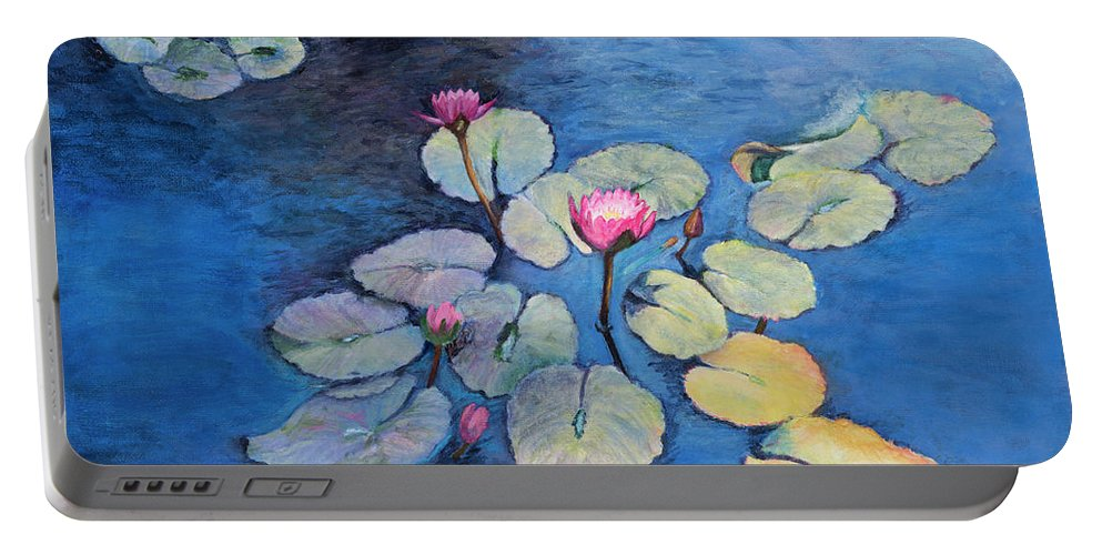 Landscapce Portable Battery Charger featuring the painting Lily Pads by Nadine Button