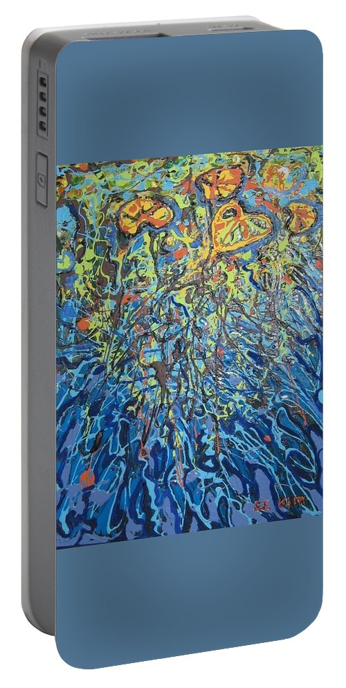 Lily Pads Paintings Portable Battery Charger featuring the painting Lily Pads Water Lily Paintings by Seon-Jeong Kim