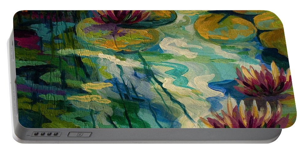 Water Lily Portable Battery Charger featuring the painting Lily Pond II by Marion Rose