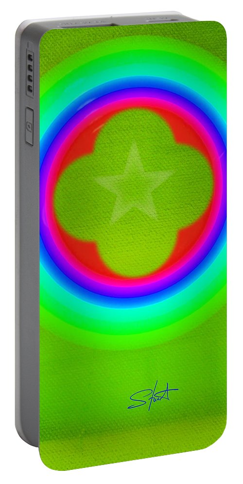 Abstract Portable Battery Charger featuring the painting Lime by Charles Stuart