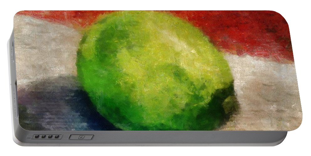 Lime Portable Battery Charger featuring the painting Lime Still Life by Michelle Calkins