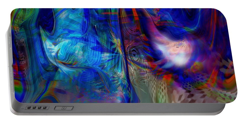 Abstract Portable Battery Charger featuring the digital art Limelight by Linda Sannuti