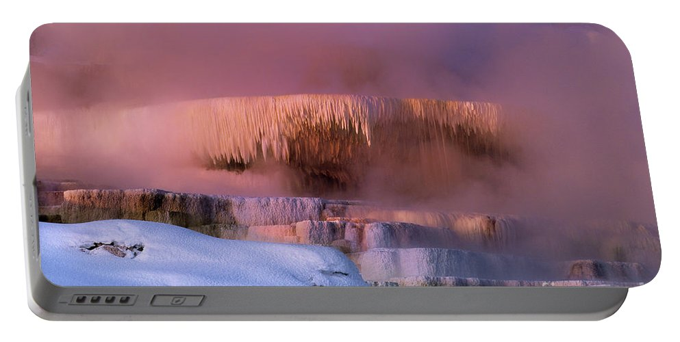 North America Portable Battery Charger featuring the photograph Limestone Artwork Minerva Springs Yellowstone National Park by Dave Welling