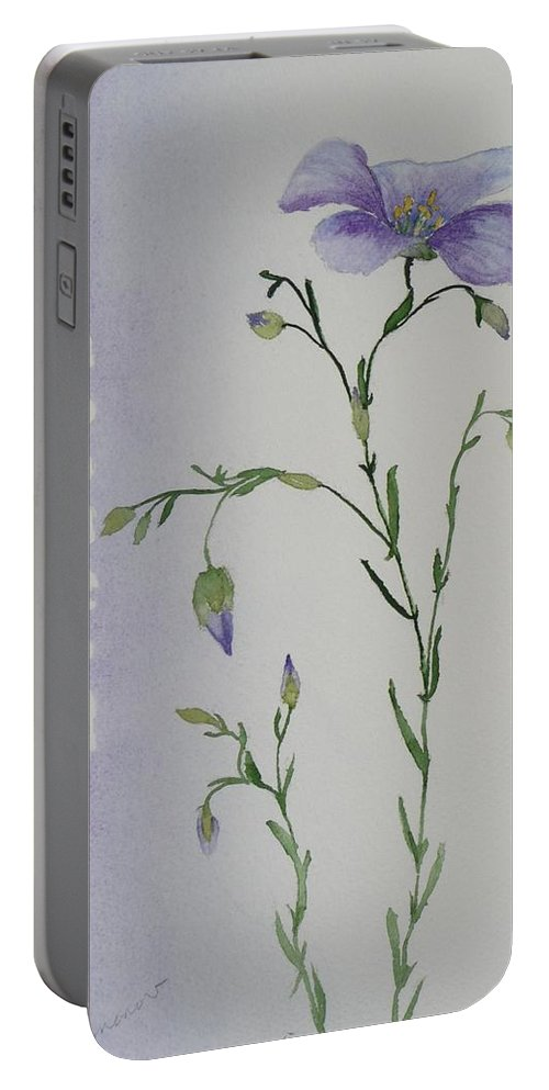 Flower Portable Battery Charger featuring the painting Linacea by Ruth Kamenev