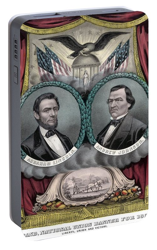 Abraham Lincoln Portable Battery Charger featuring the painting Lincoln And Johnson Election Banner 1864 by War Is Hell Store