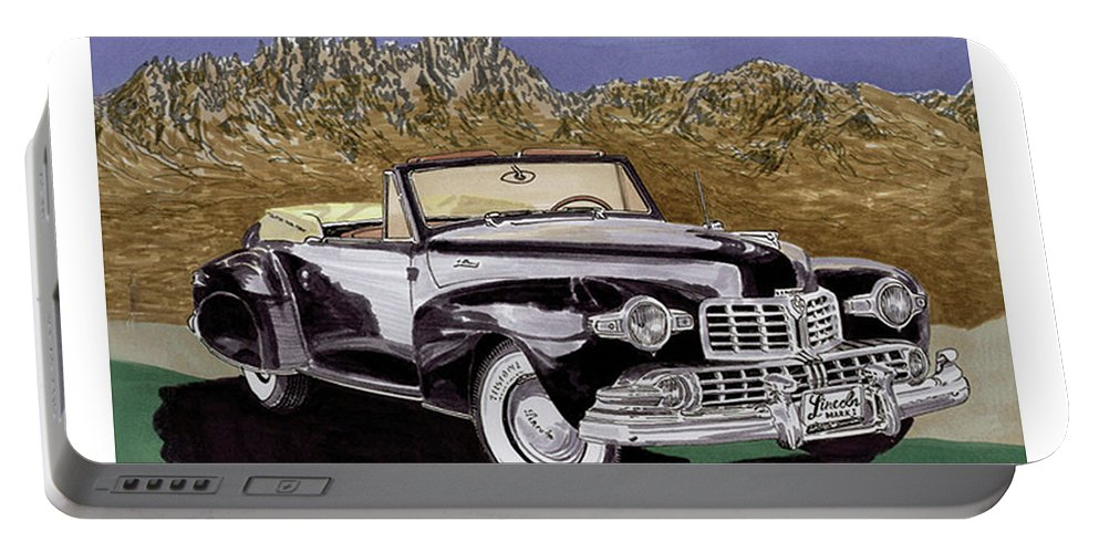 Image Of 1947 Lincoln Continental Convertible In The Organ Mountains-desert Peaks National Monument Portable Battery Charger featuring the painting Lincoln Continental Mk I by Jack Pumphrey
