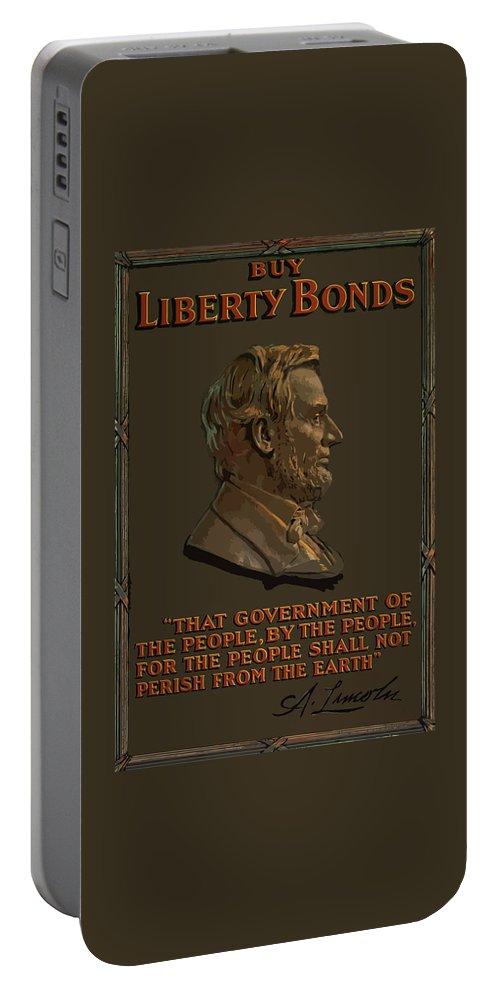 Abe Lincoln Portable Battery Charger featuring the painting Lincoln Gettysburg Address Quote by War Is Hell Store