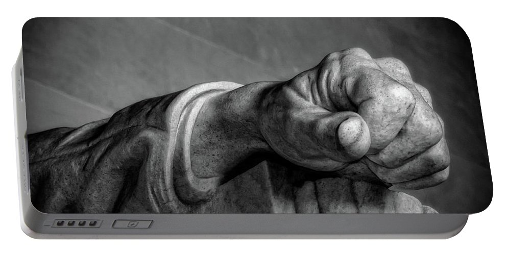 Lincoln Portable Battery Charger featuring the photograph Lincoln's Left Hand B-w by Christopher Holmes