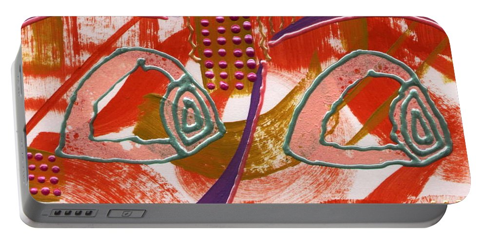 Abstract Portable Battery Charger featuring the mixed media Linda I'm Watching You by Angela L Walker