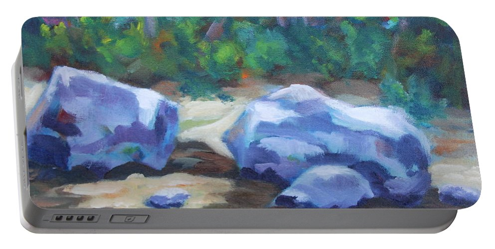 Expressionist Landscape Portable Battery Charger featuring the painting Lindenlure by Jan Bennicoff