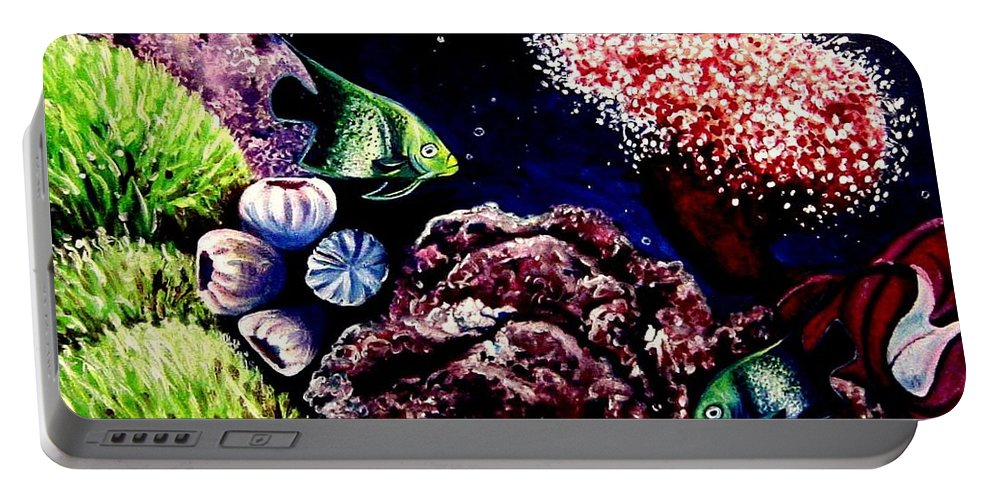 Fish Portable Battery Charger featuring the painting Lindsay's Aquarium by Elizabeth Robinette Tyndall