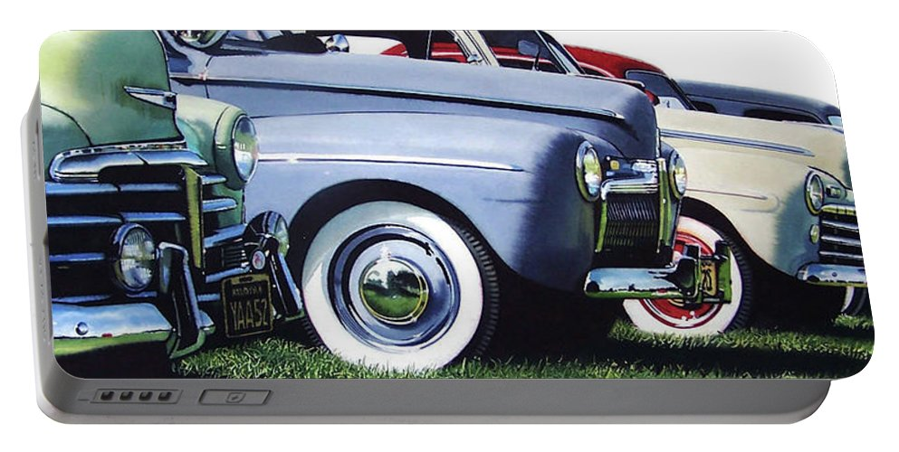 Antique Cars Portable Battery Charger featuring the painting Line Up by Denny Bond