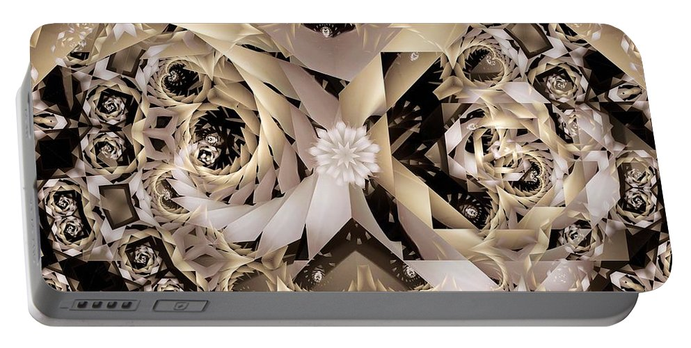 Abstract Portable Battery Charger featuring the digital art Linen and Silk by Ron Bissett