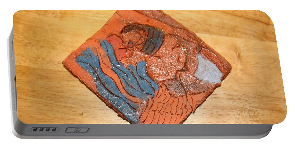 Jesus Portable Battery Charger featuring the ceramic art Lines - Tile by Gloria Ssali