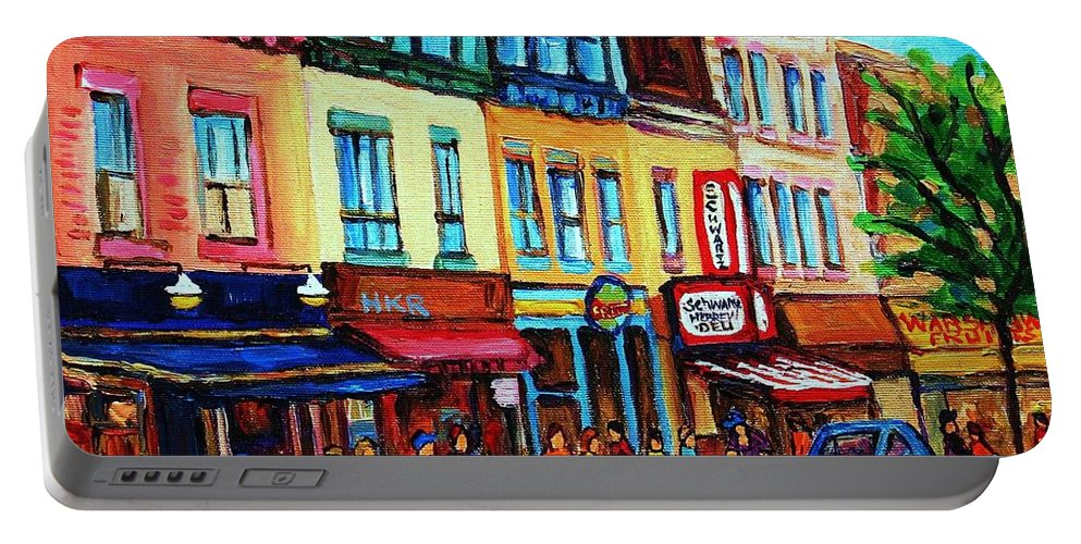 Cityscape Portable Battery Charger featuring the painting Lineup For Smoked Meat Sandwiches by Carole Spandau