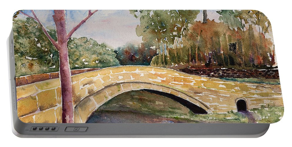 Linton Portable Battery Charger featuring the painting Linton Beck Yorkshire by Renee Chastant