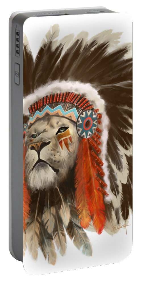 Lion Portable Battery Charger featuring the painting Lion Chief by Sassan Filsoof