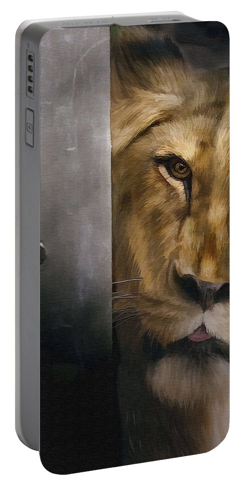 Lion Portable Battery Charger featuring the photograph Lion Eye by Sharon Foster