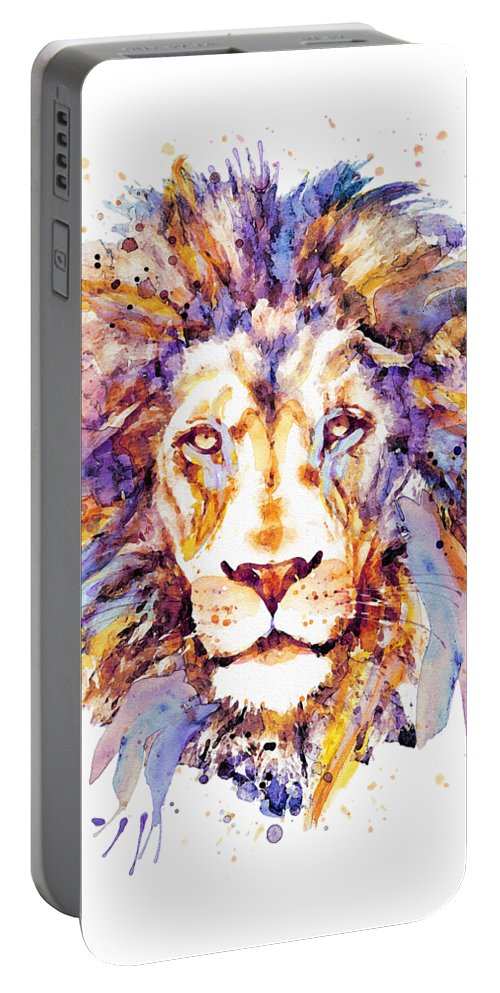 Lion Portable Battery Charger featuring the painting Lion Head by Marian Voicu