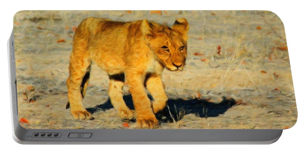 Lion Portable Battery Charger featuring the painting Lion - Id 16235-220310-4716 by S Lurk