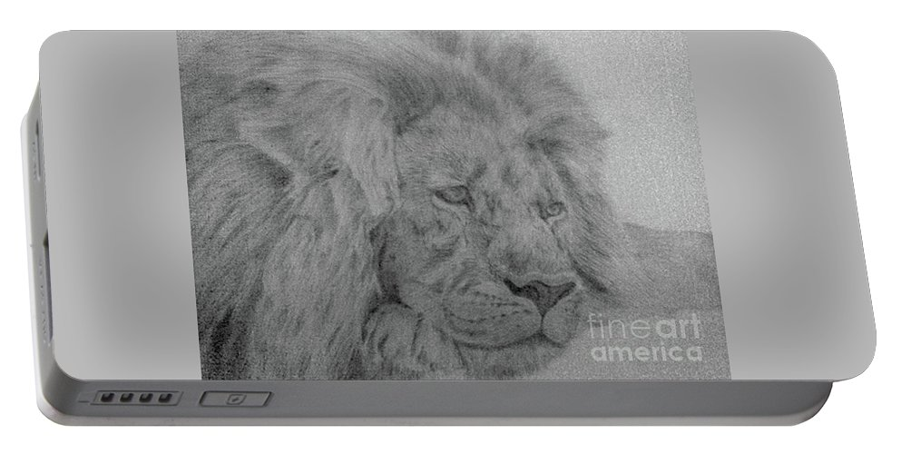 Lion Wild Cat Animals Pencil Paper Portable Battery Charger featuring the drawing Lion by Nadi Sabirova