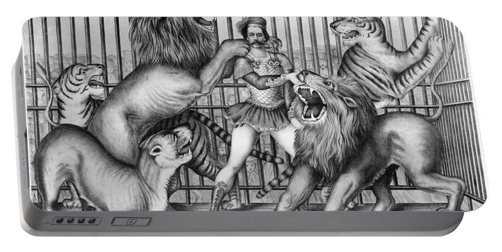 1873 Portable Battery Charger featuring the photograph Lion Tamer, 1873 by Granger