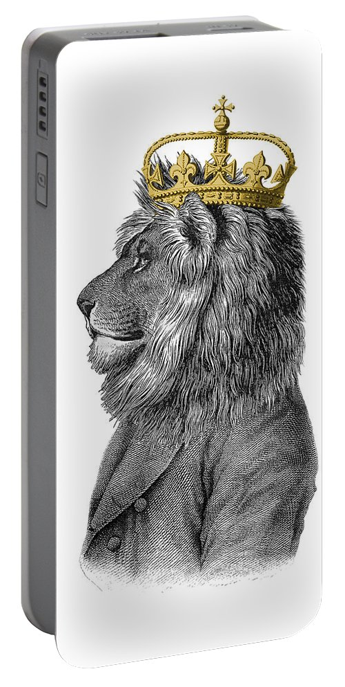Lion Portable Battery Charger featuring the digital art Lion The King Of The Jungle by Madame Memento