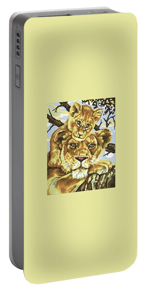 Lions Lioness Kenya Savannah Portable Battery Charger featuring the painting Lioness And Son by William Mutua