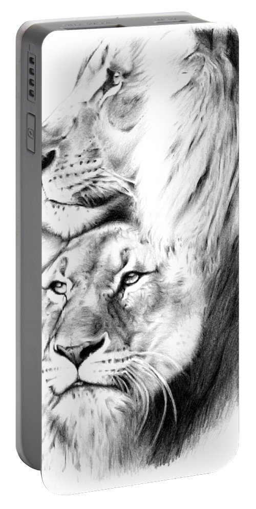 Lion Portable Battery Charger featuring the drawing Lions by Mike Bruce