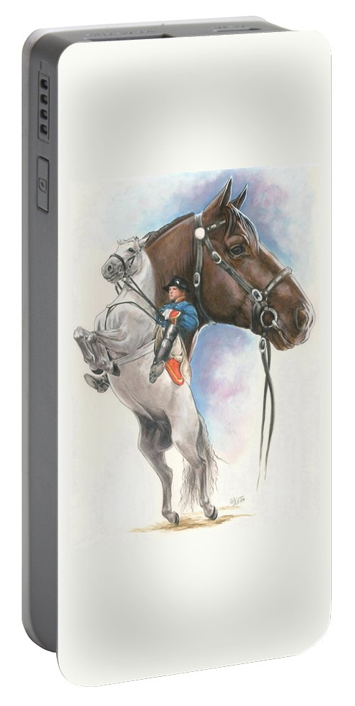 Spanish Riding School Portable Battery Charger featuring the mixed media Lippizaner by Barbara Keith