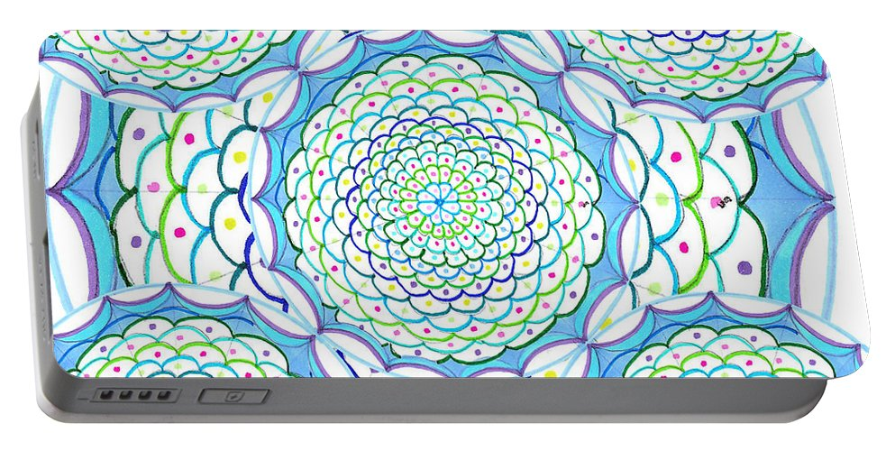 Mandala Portable Battery Charger featuring the drawing Listen And Take Action Ill by Signe Beatrice