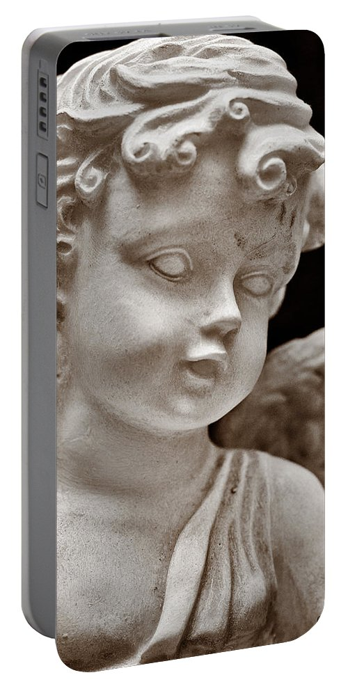 Angel Portable Battery Charger featuring the photograph Little Angel - Sepia by Christopher Holmes