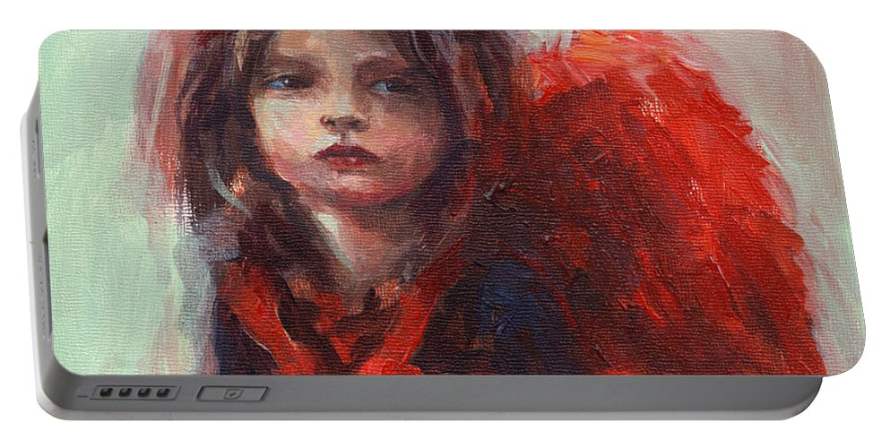 Girl With Wings Portable Battery Charger featuring the painting Little Angel by Svetlana Novikova
