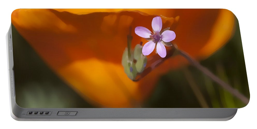 Wildflower Portable Battery Charger featuring the digital art Little Beauty by Sharon Foster