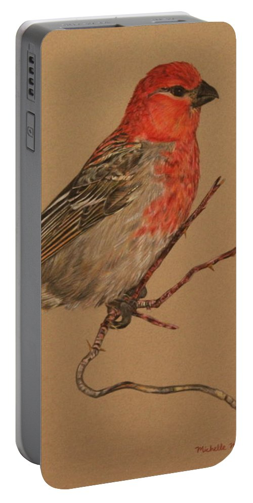 Bird Portable Battery Charger featuring the drawing Little Bird by Michelle Miron-Rebbe