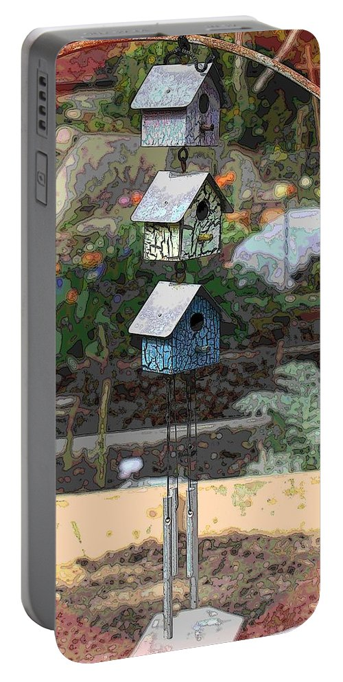 Garden Portable Battery Charger featuring the digital art Little Birdie Condo by Tim Allen