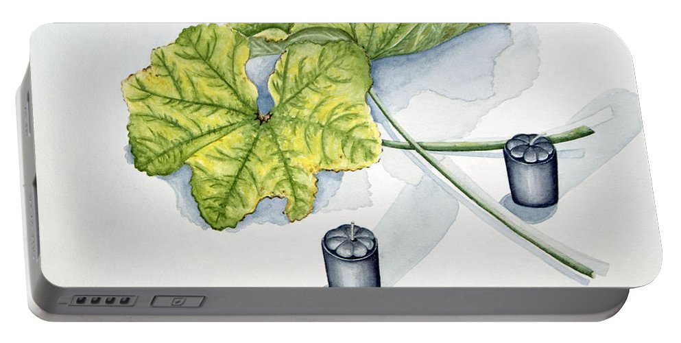 Candles Portable Battery Charger featuring the painting Little Black Candles by Judy Henninger