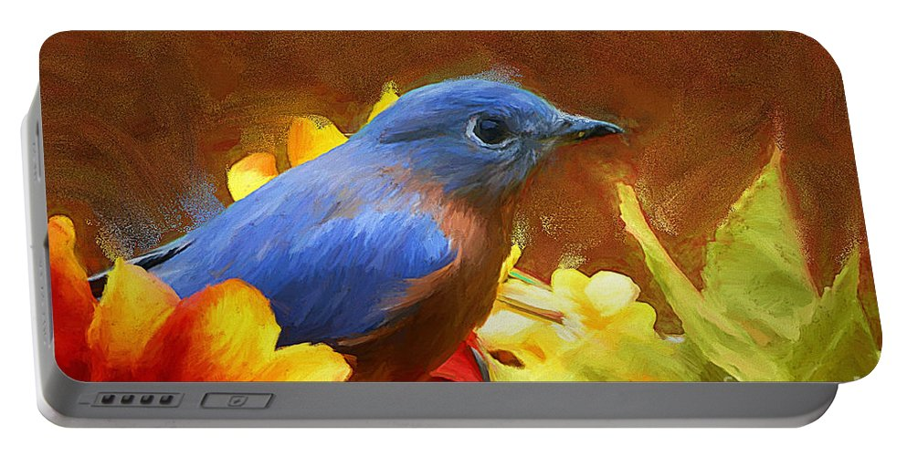 Bluebird Portable Battery Charger featuring the painting Little Boy Blue by Tina LeCour