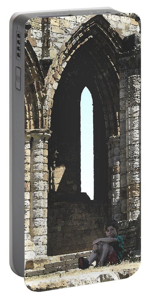 Arch Portable Battery Charger featuring the photograph Little Boy Under The Arch by Susan Baker