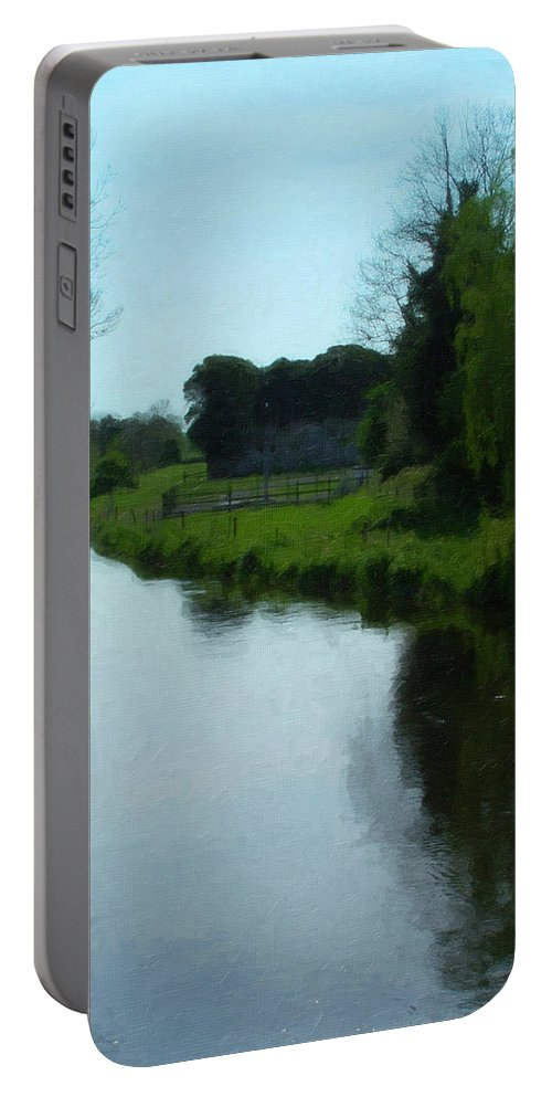 Little Brosna River Portable Battery Charger featuring the painting Little Brosna River Riverstown Ireland by Teresa Mucha