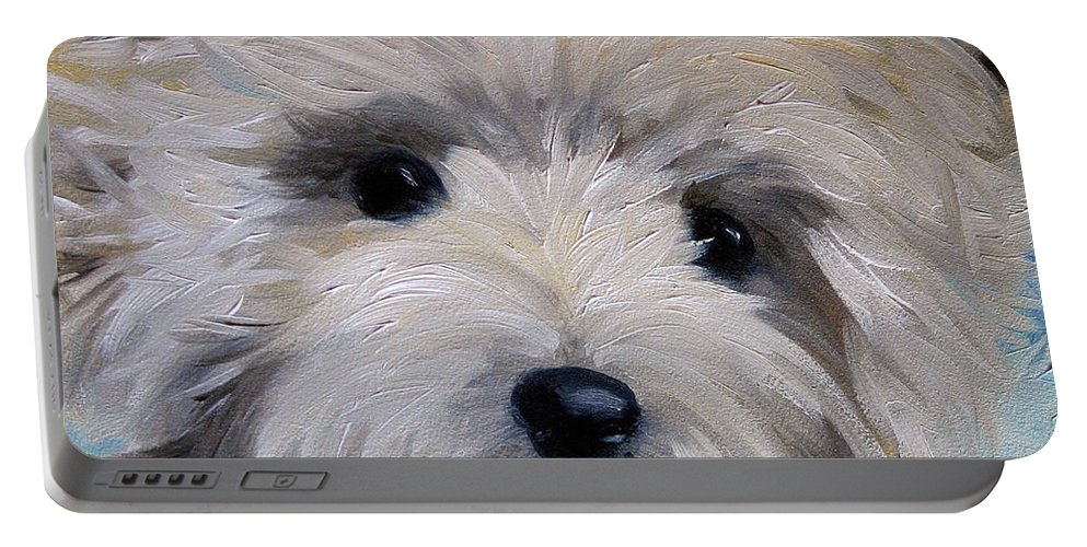 Cairn Terrier Portable Battery Charger featuring the painting Little Cairn by Mary Sparrow