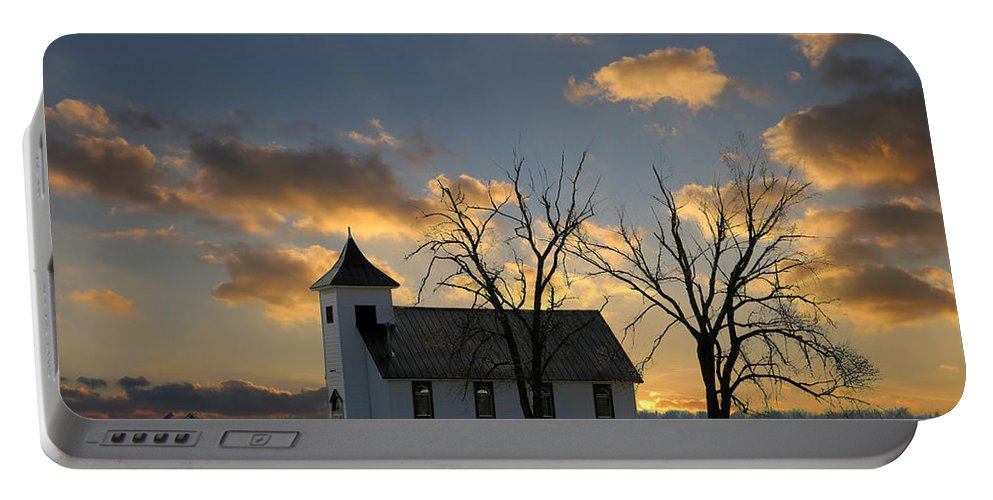 Sunset Portable Battery Charger featuring the photograph Little Church On The Prairie by Theresa Campbell