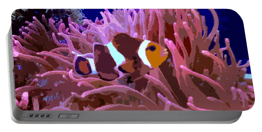 Clown Fish Portable Battery Charger featuring the painting Little Clown Fish by David Lee Thompson